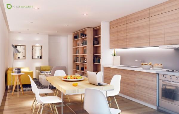 Деревянный кухонный гарнитур в квартире с открытой планировкой
