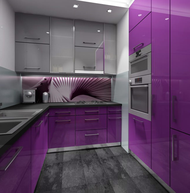 Изысканное оформление небольшой фиолетовой кухни
