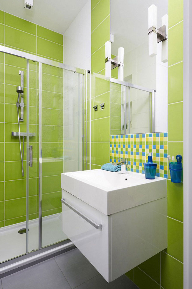 Дизайн ванны в салатовом цвете