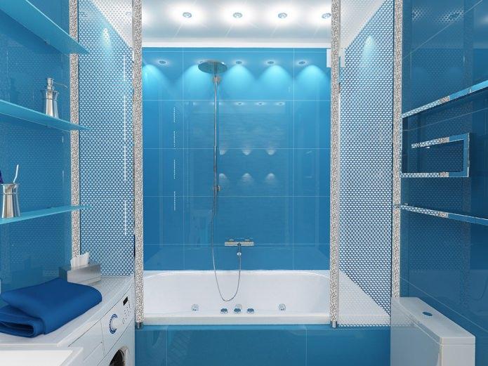 Роскошное оформление ванны в голубых тонах