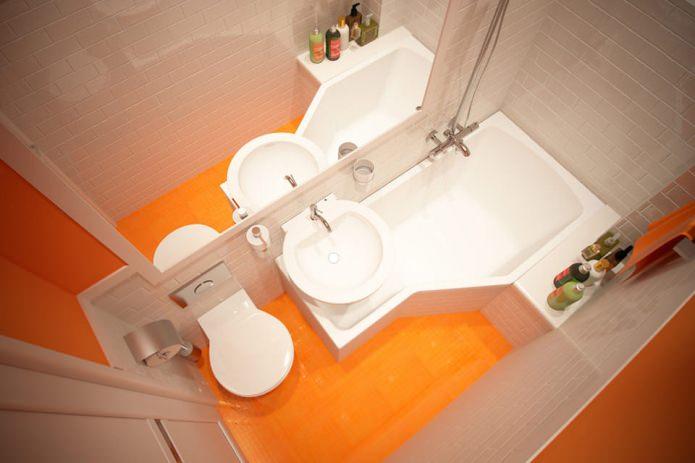 Сочный оранжевый цвет в интерьере ванны