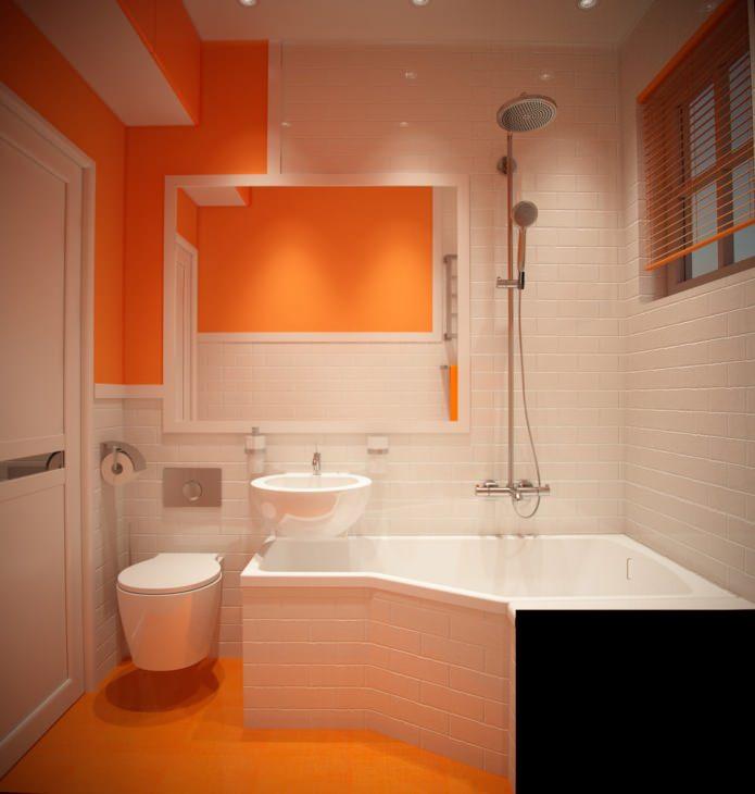 Красивое сочетание белого и оранжевого цвета в дизайне ванны