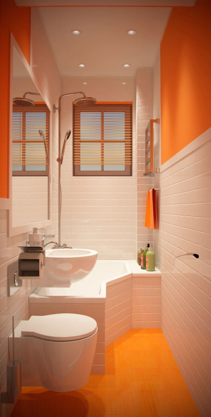 Стильный дизайн маленькой оранжевой ванны