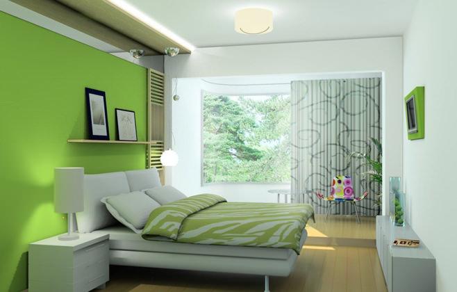 Оформление спальни в салатовом цвете