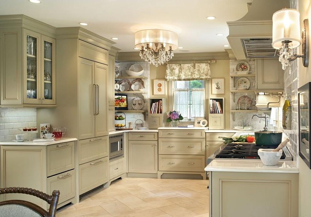 Кирпичная кладка в интерьере роскошной кухни